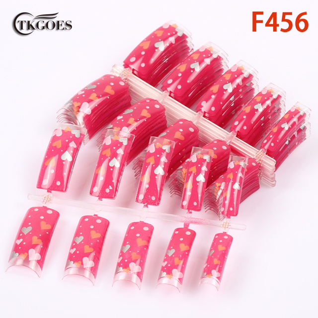 Tkgoes 50pcs acrylic pre designed nail tips clear love heart mixed tkgoes 50pcs acrylic pre designed nail tips clear love heart mixed patterns half fake nail tips prinsesfo Image collections