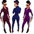 Roupas elegantes Mulheres Playsuits Jumpsuits Bodycon 2016 Moda Feminina Sportswear de Manga Comprida Com Zíper Bodysuit Macacão macacão