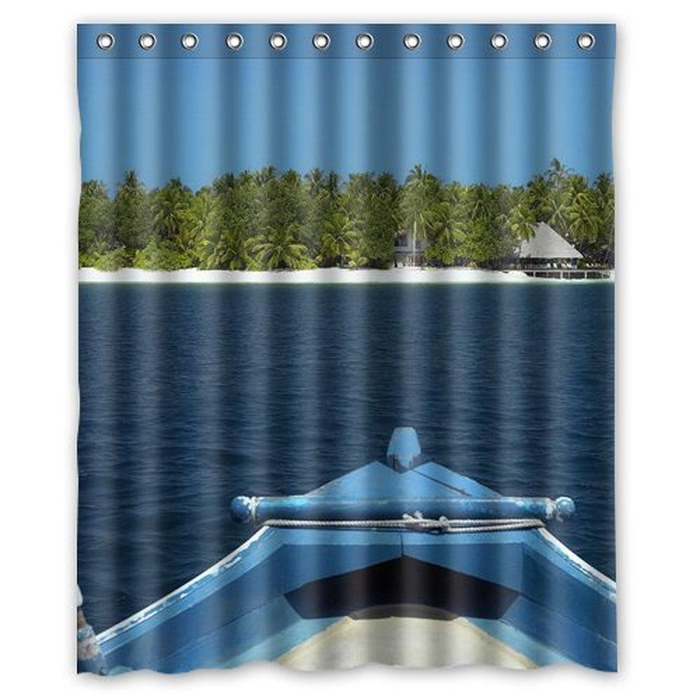 boat tropical island Shower Curtain 60 x 72 Inch Bathroom 60x72inch 152x183cm