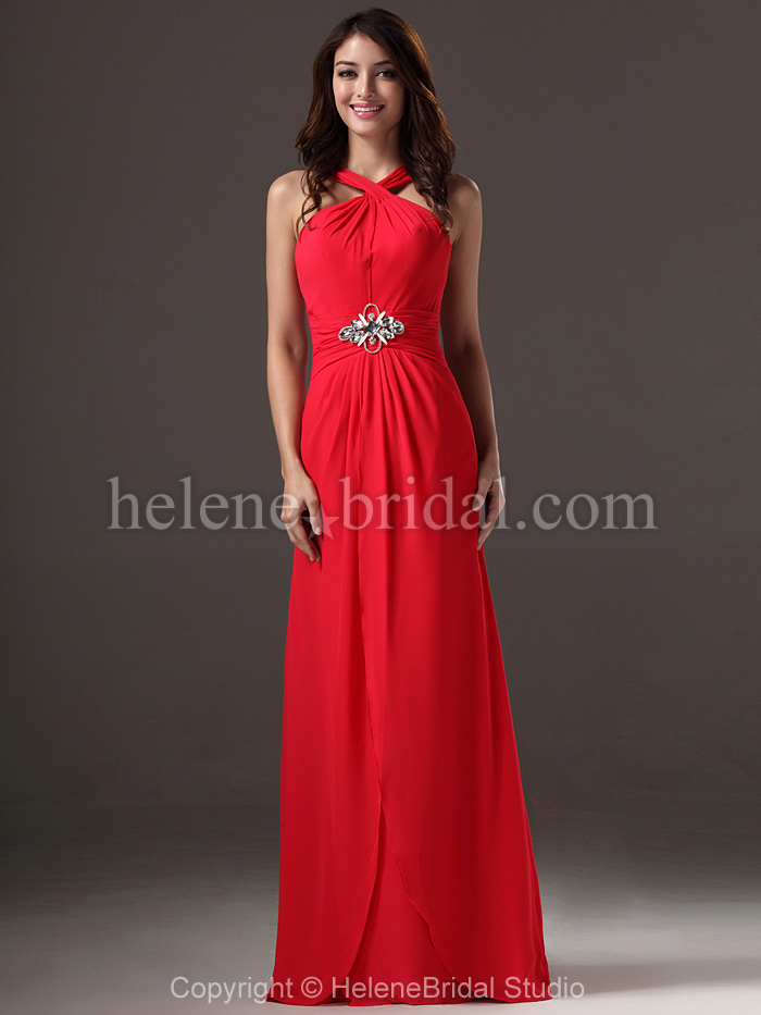 8d322f5118fc8 2016 Floor Length A Line Red Bridesmaid Dresses With Brooch Elegant ...