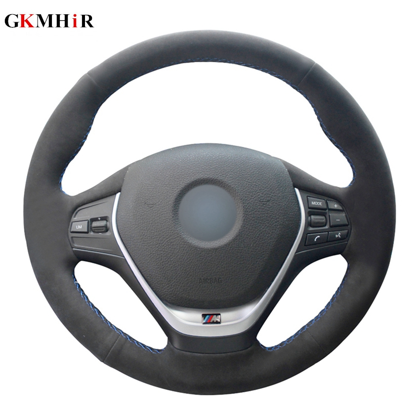 Hand stitched Black Suede Leather Car Steering Wheel Cover for BMW F20 2012 2018 F45 2014 2018 F30 F31 F34 2013 2017 F32|Steering Covers| |  - title=