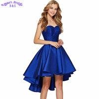 Атласная Homecoming атласное платье синего, красного, черного цвета Высокий Низкий без бретелек наряд для выпускного для Для женщин Формальное У