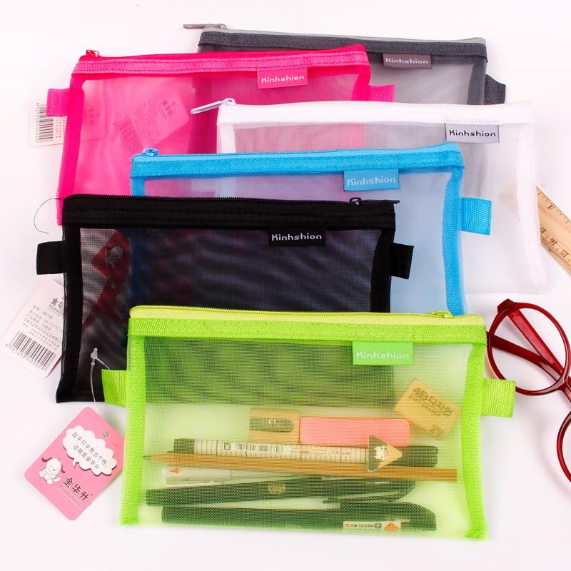 1 Pcs Transparent Grid Zipper Pen Bag Pencil Case Storage Package For Grils Korean Stationery School Supplies