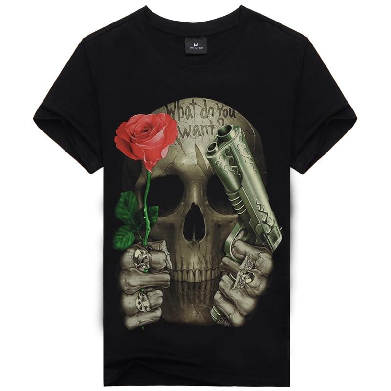 New Men s Cotton Slim Short Sleeve T Shirts Skull Printing Fitness Sport Tops Tees Printing