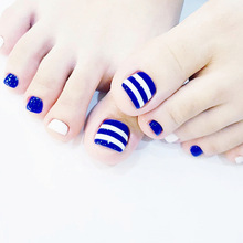 Fashion 24pcs/set navy blue and white stripes design finished toes false nails,full nail tips Patch lady art tool bride