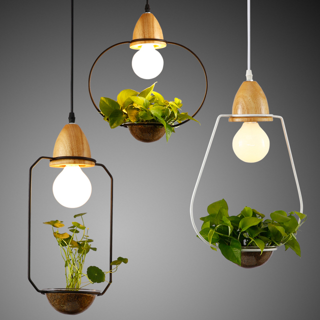 modern simple wood iron pendant lamp lighting diy plant. Black Bedroom Furniture Sets. Home Design Ideas