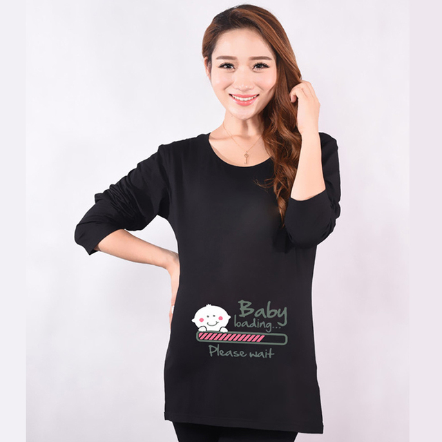 9612eb7d Hot pregnant t-shirts baby loading print funny maternity tops long sleeve  tees cotton women's t shirts pregnancy clothes casual 21.18 €