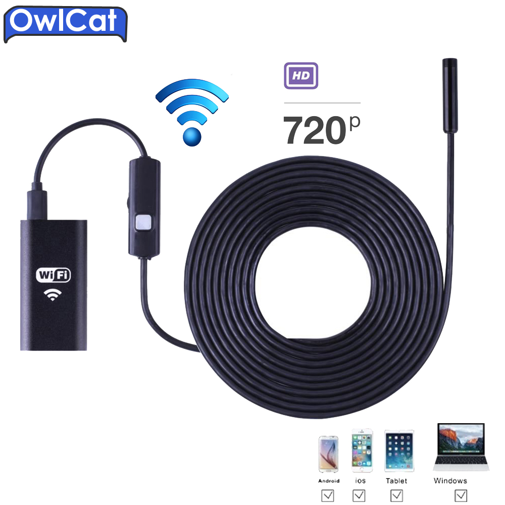 OwlCat Wifi Snake Endoscope Camera Waterproof IP67 Tube Pipe Borescope HD 720P MINI Camera Wireless 8MM Lens 2M Iphone &Android eyoyo nts200 endoscope inspection camera with 3 5 inch lcd monitor 8 2mm diameter 2 meters tube borescope zoom rotate flip
