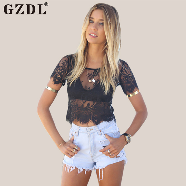 Black Short Sleeve V Neck Vintage Lace Blouses