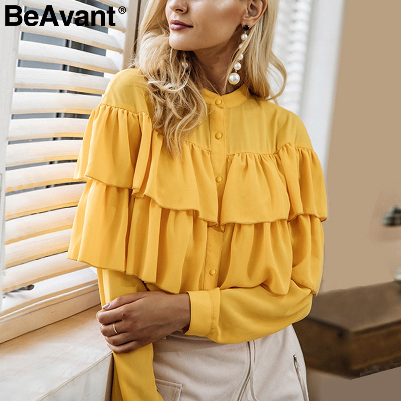 BeAvant Casual ruffles white   blouse     shirt   women tops 2018 Long sleeve cool   blouse   Elegant blusas chemise femme blusas new