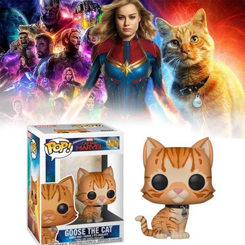 Funko pop filme capitão marvel figura de ação brinquedos ganso o gato modelo bonecas de vinil colecionáveis para a criança presentes aniversário brinquedo