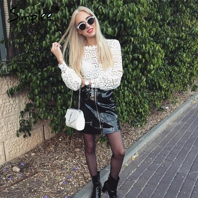 Simplee Sexy high waist PU leather skirt Autumn winter 2016 elegant zipper pocket short women skirt Casual black slim mini skirt