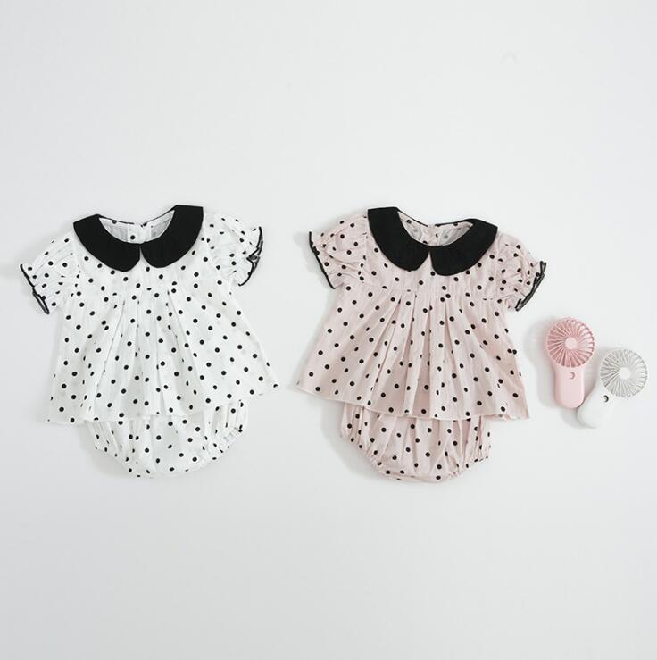 2019  New Wholesale Baby Girls  2 Pcs Set Blouse+PP Shorts Cotton  Summer  Baby Girls Suits 0-3T Pt937