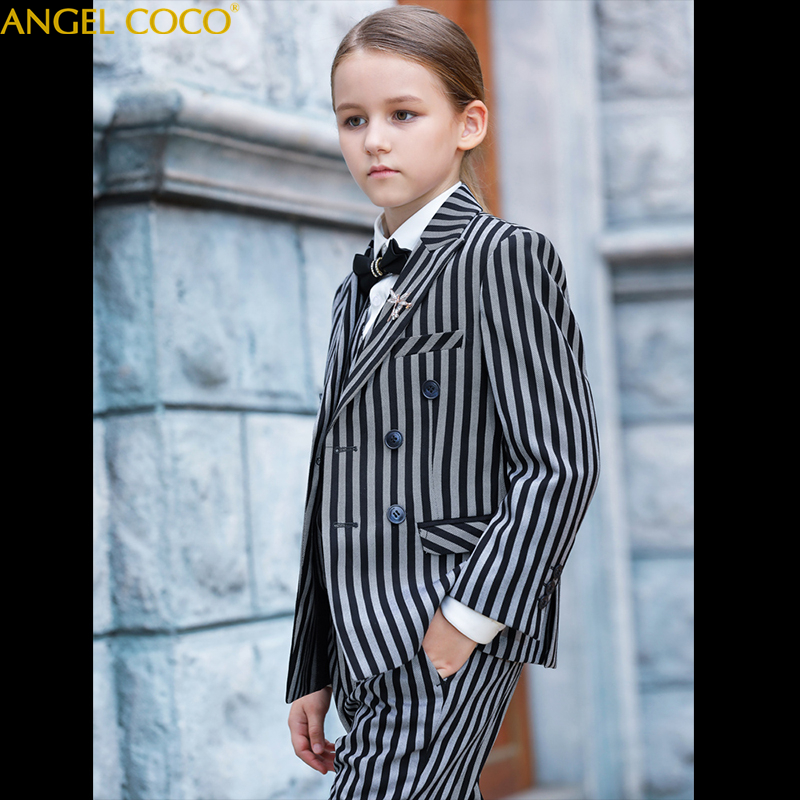 b8cd085f11 Children Suit Spring Autumn Boy Girl Suit Black White Stripes Jacket  Trousers 5 Pcs Sets Kids