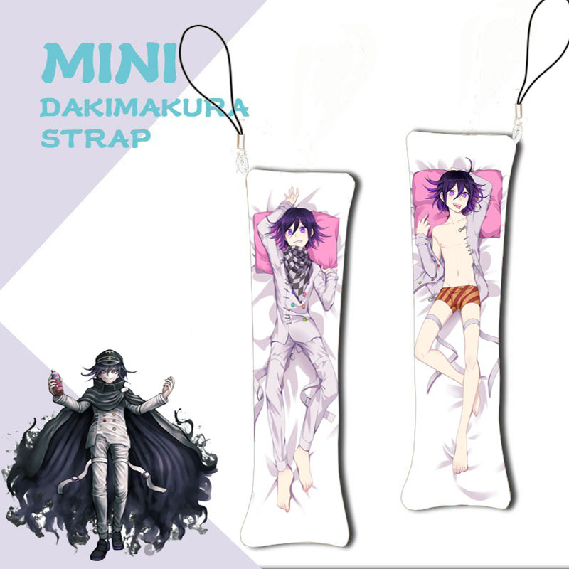 Anime Mini Dakimakura Danganronpa V3 Keychain Pillow Ouma Kokichi Hanging Ornament Phone Strap Cute Gift 3x10cm