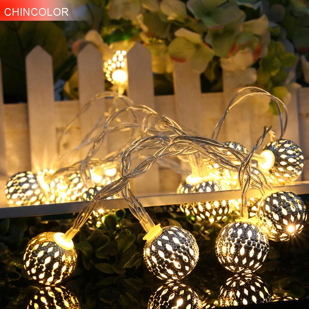 10LEDS Holiday Lights Metal 2.5CM Ball Led Light String Battery Operated Xmas Christmas Garland Christmas Wedding Fairy Decor BA