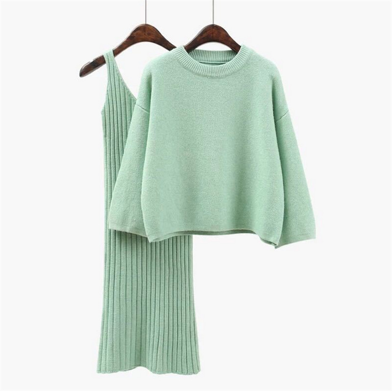 2018 Autumn Womans Sweater + Straped Dress Sets Solid Color Female OL 2 Piece Suits Loose Sweater Knit Mid Dress Winter