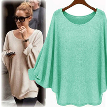 New sweater Women candy color Oversized Batwing Knitted Pullover Loose Sweater Tops high quality clothing