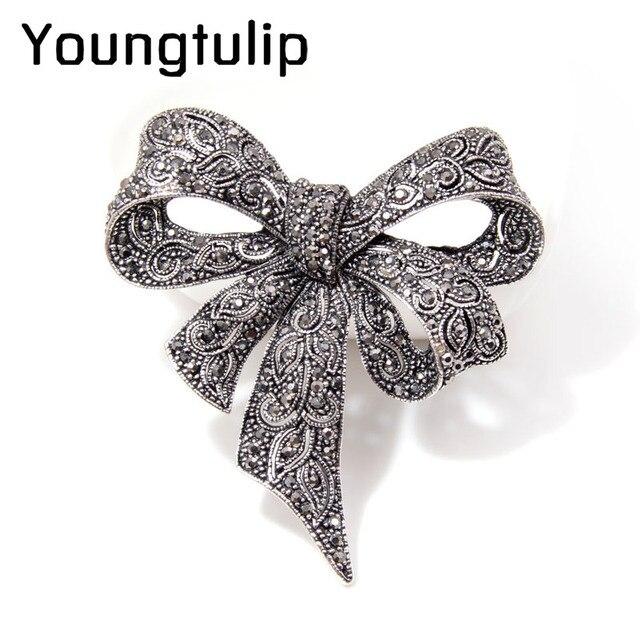 CINKILE Vintage Rhinestone Bow Brooches for Women Black Bowknot Brooch Pin Fashi