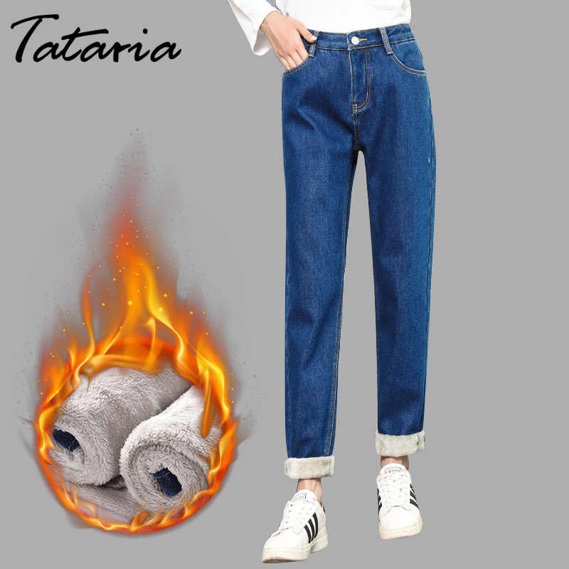 Tataria Velvet Thick Warm Women's Winter Jeans High Waist Trousers Cowboy Pants Loose Denim Harem Warm Winter Jeans Pants Women