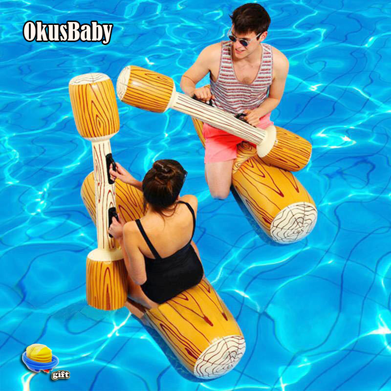 4pcs Set Summer Inflatable Ride On Buoy Bath Water Fight Sport Toy Column Pool Raft For Children & Adult Swimming Tool Free Pump