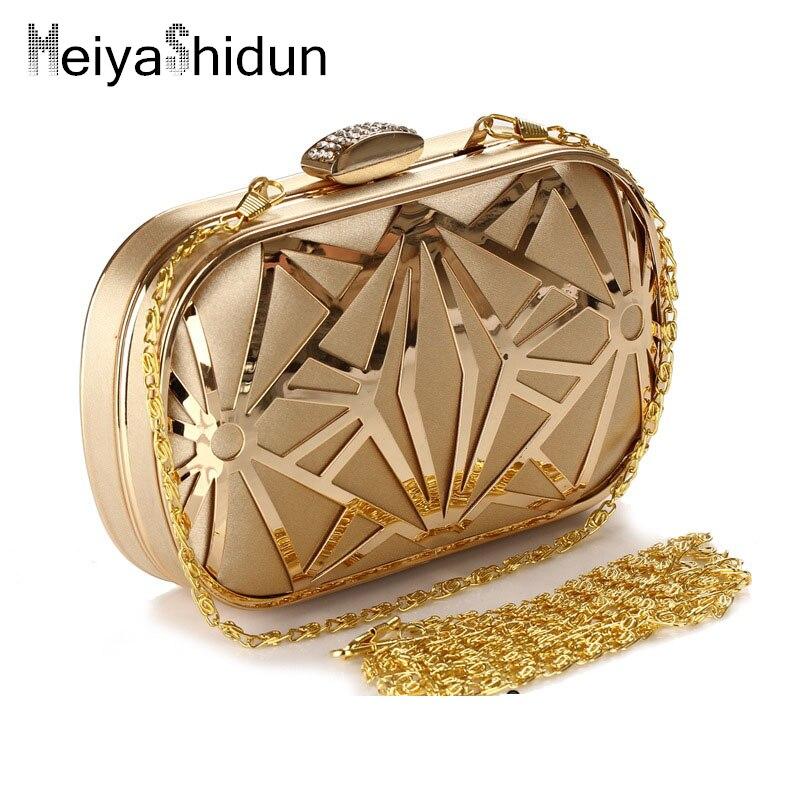 MeiyaShidun women Clutchs chain Purse Luxury wedding party Leather bag,high-grade Lady Hollow crystal evening handbags wholesale