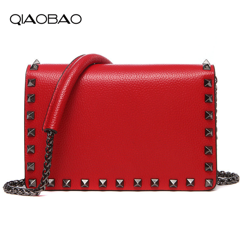 QIAOBAO 2018 spring and summer new Style First layer genuine leather rivet handbags Cowhide shoulder bag chain bag Messenger bag qiaobao women general genuine leather handbags tide europe fashion first layer of cowhide women bag hand diagonal cross package