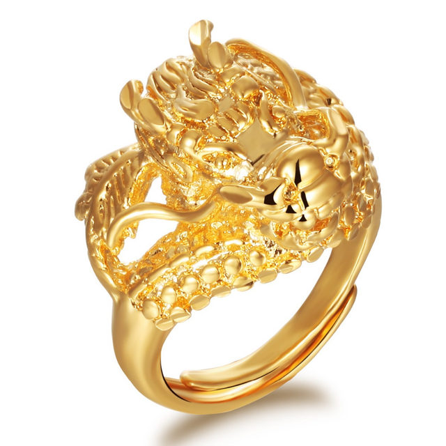 line Shop OPK Dragon Head Mans Rings Punk Style Gold Color