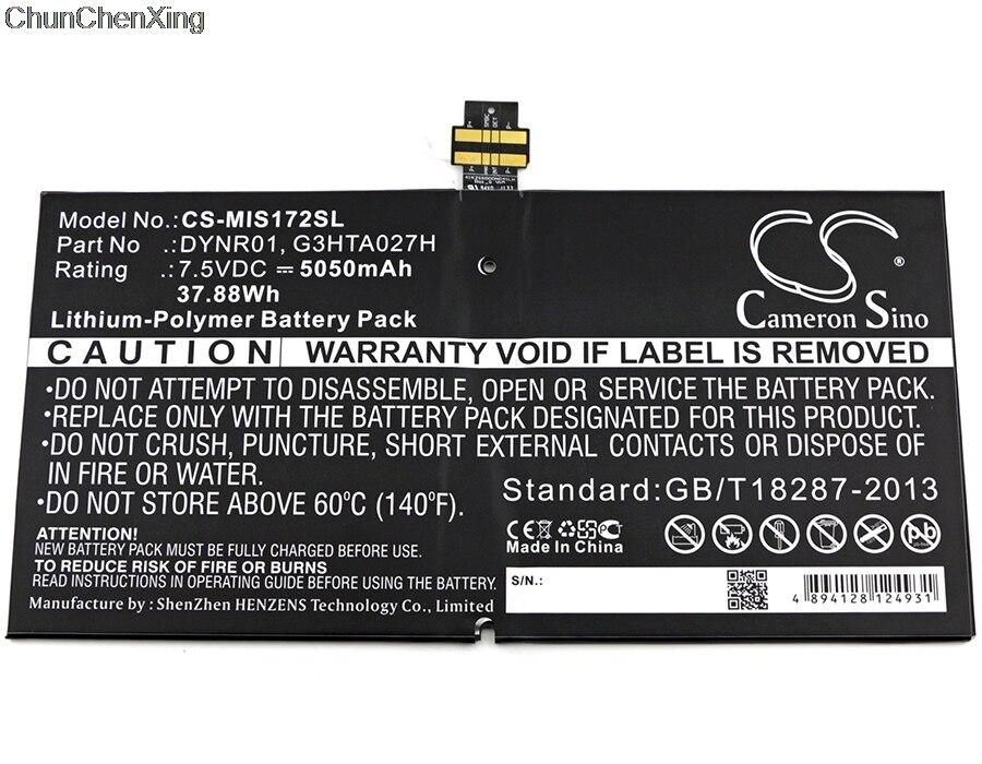Cameron Sino 5050 mah Batterie DYNR01, G3HTA027H pour Microsoft 1724, Surface 4, Surface Pro 4