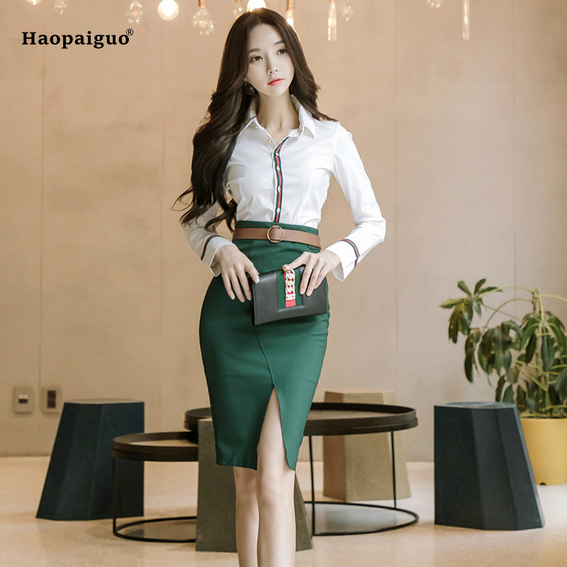 2 Piece Set Women Suit 2018 Summer Office Long Sleeves White Shirt Blouse Tops And Green Pencil Skirts Crop Top And Skirt Set