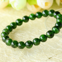 Wholesale Genuine Natural Green Chrome Diopside Round Beads Stretch Bracelets 6 12mm 03547