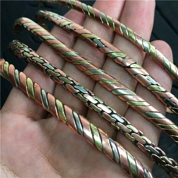 BB-218 bijoux tibétains Rose cuivre enveloppé manchette ouverte mince bracelets paire pour les filles 1