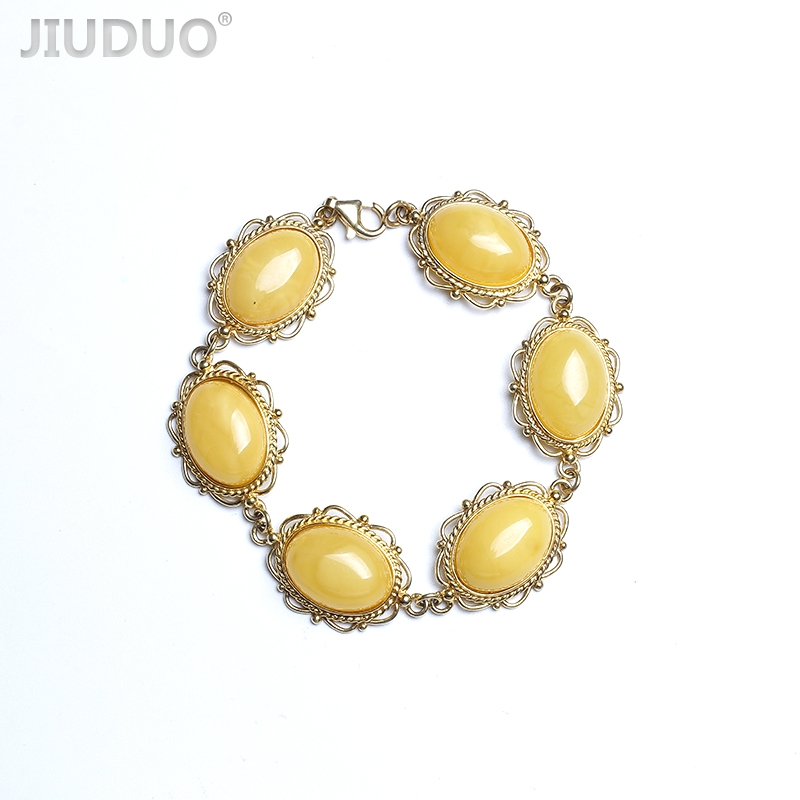 JIUDUO Polish Baltic Sea natural amber old honey 5A chicken yellow beeswax 925 sterling silver Western antique Bracelets