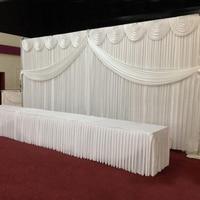 10ftX20ft белый/золотой шелк льда Свадебные занавески дизайн Swag атласный фон вечерние украшения для свадебного занавеса поставщиков