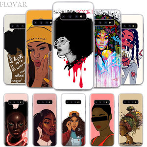 Black Girl Melanin Poppin Queen Phone Case for Samsung Galaxy S10 S20 Ultra S7 S8 S9 S10 Plus S10e Note 8 9 10 Plus Hard Case(China)