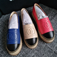 Women real leather slip-on loafers shoes Comfort casual Espadrilles shoes Chic flat shoes EU35-41 size BY533