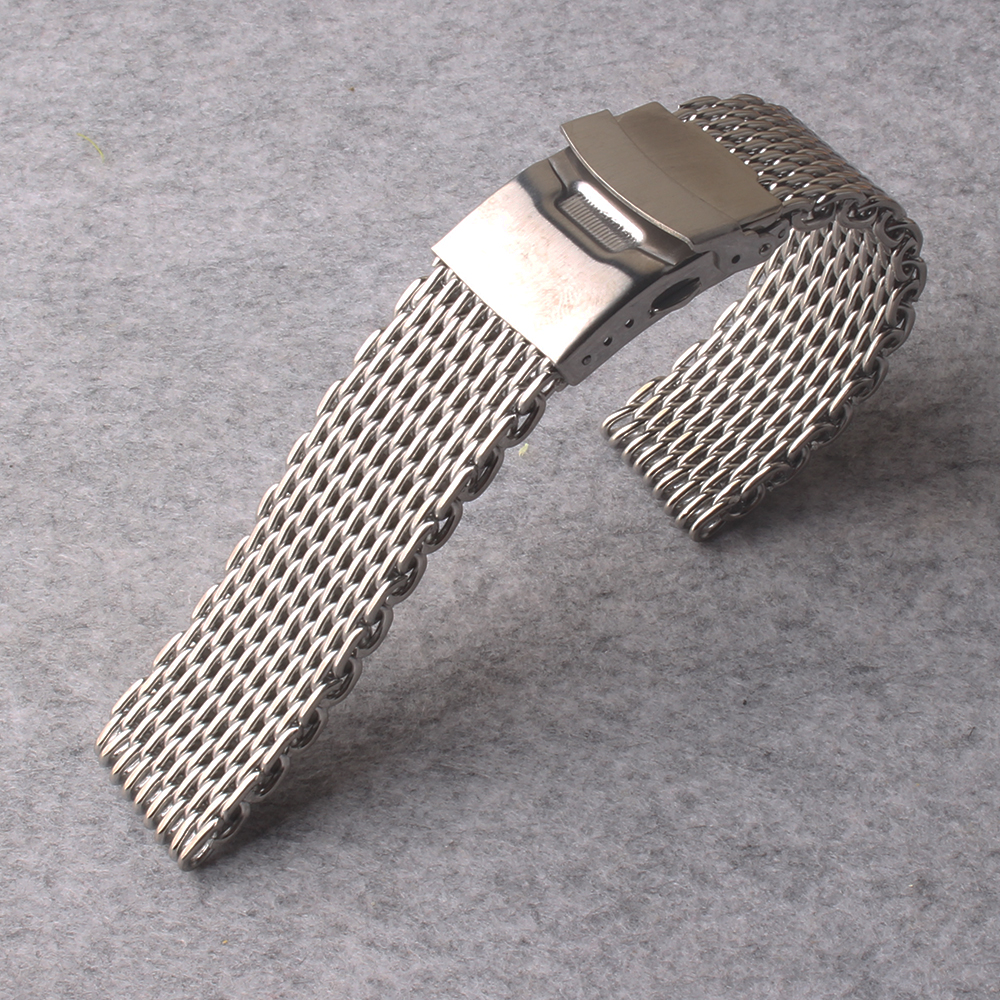 High Quality Stainless Steel Watch Band 20mm 22mm Mesh Shark Silver Watch Strap for Women Men Replacement Watchband safery clasp high quality milan stainless steel watchband 20mm 22mm men and women black brown watch strap for breitling strap bracelet
