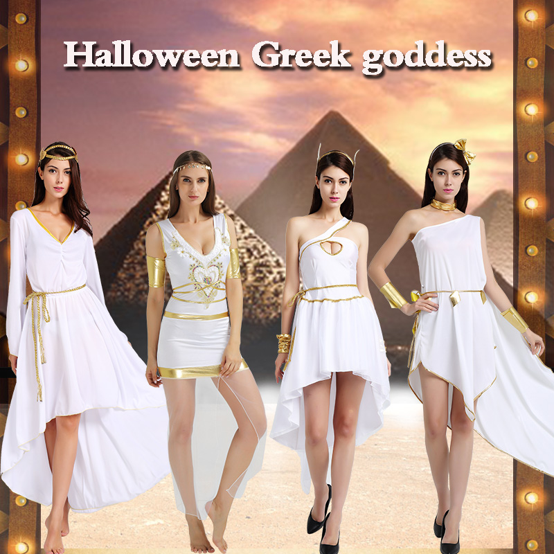 Fhalloween party cosplay adult women white Greek goodess Greece princess warrior dress Egyptian Egypt costume headband