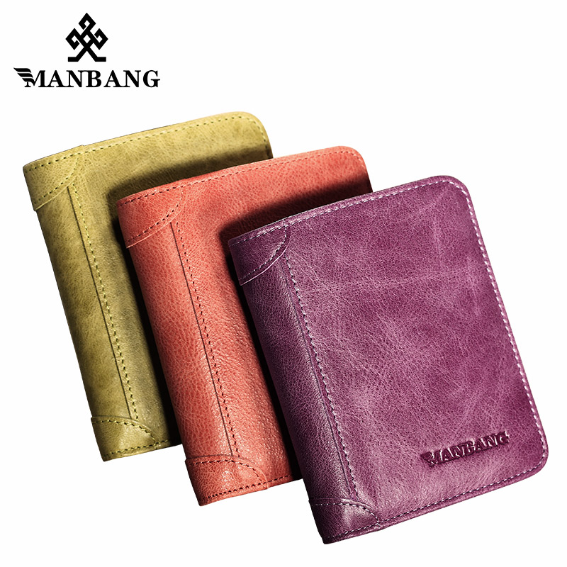 ManBang Slim Small Cute Wallet for Women Brand Design Credit Card Holder  Genuine Leather Wallets Gift Purse for Girl Teen casual weaving design card holder handbag hasp wallet for women