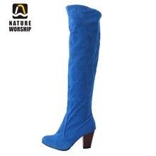 ファッション冬の女性の靴平方ヒール固体騎士ブーツラウンドつま先スリップオンヌバック革オーバーザ膝ロングブーツサイズ34-43