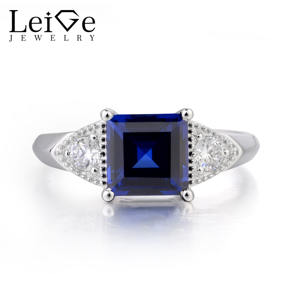 Leige Jewelry Blue Sapphire Ring Engagement Ring September Birthstone Square Cut Gemstone 925 Sterling Silver Gifts for WomenLeige Jewelry Blue Sapphire Ring Engagement Ring September Birthstone Square Cut Gemstone 925 Sterling Silver Gifts for Women