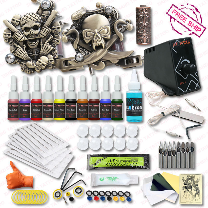 ФОТО High Quality Tattoo Kits10 Colors Inks Set  2 Relief Tattoo Machine Guns Top  Power Supply Tattoo Supply