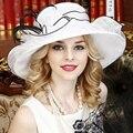 Blanco elegante Gasa Fina Grande Sombrero de Ala Sombreros de Fiesta de Boda por La Iglesia