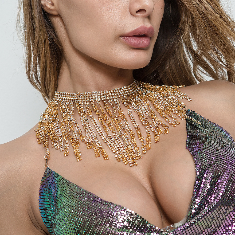 New Fashion Style WRB967 Sexy Gold Color Rhinestone Mesh Chainmail Halter Necklace Beach Metallic Necklace Jewelry 3 Colors