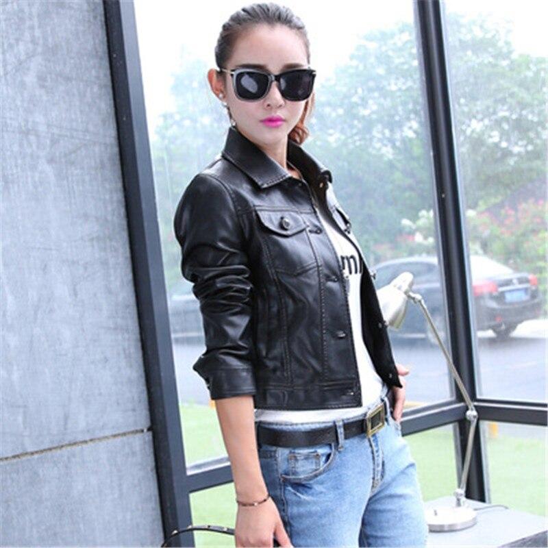2018 Solid Blue Bombers Jacket PU Leather Motor Korean Coat Short Section Slim Coat New Style Fashion Leather Youth Ladies 1