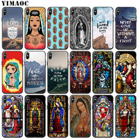 YIMAOC Virgen de Guadalupe stained glass art Soft Silicone Phone Case for iPhone XS Max XR X 6 6S 7 8 Plus 5 5S SE 10 Cover