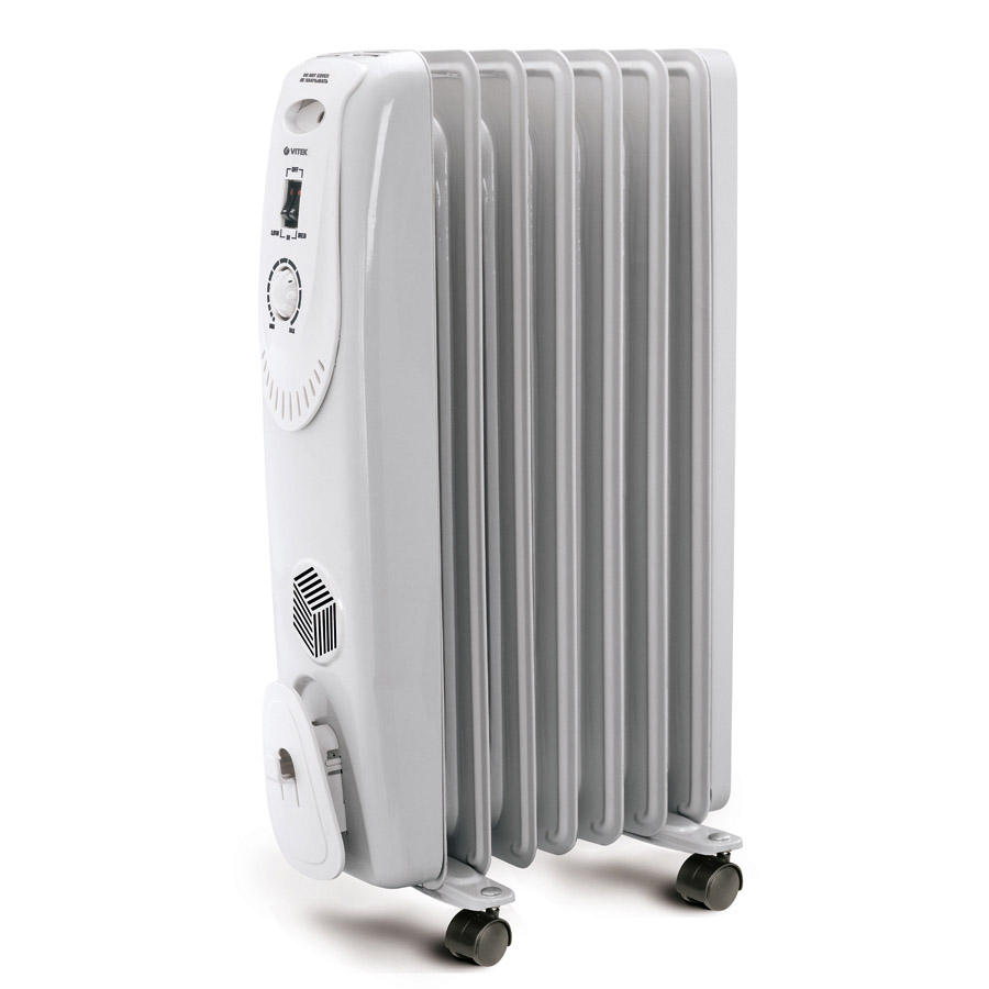 Oil heater VITEK VT-1704 (Power 1500 W, 2 modes, thermostat, heating area up to 20 sq. M, overheating protection)