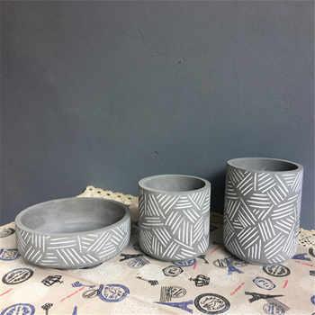 Silicone flowerpot mould stripe design cement pot molds - Category 🛒 Home & Garden