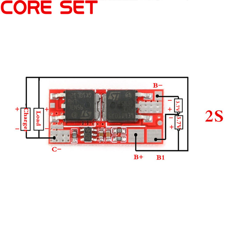 2PCS BMS 2S 8.4V 10A PCM PCB BMS Lithium Charger Charging Module 18650 Li-ion Lipo 2S Battery Protection Circuit Board