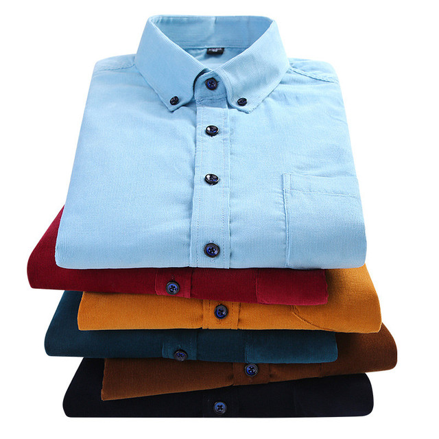 Plus Size 6xl Autumn/winter Warm Quality 100%cotton Corduroy long sleeved button collar smart casual shirts for men comfortable 6